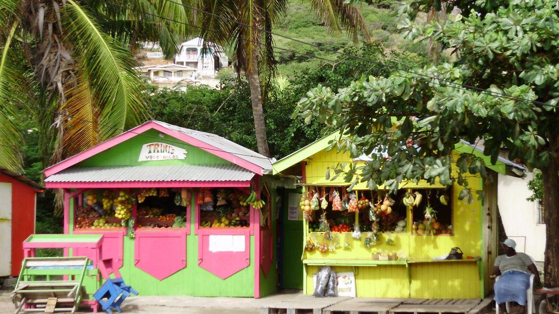 Vendeurs de fruits au village d'Union, Grenadines