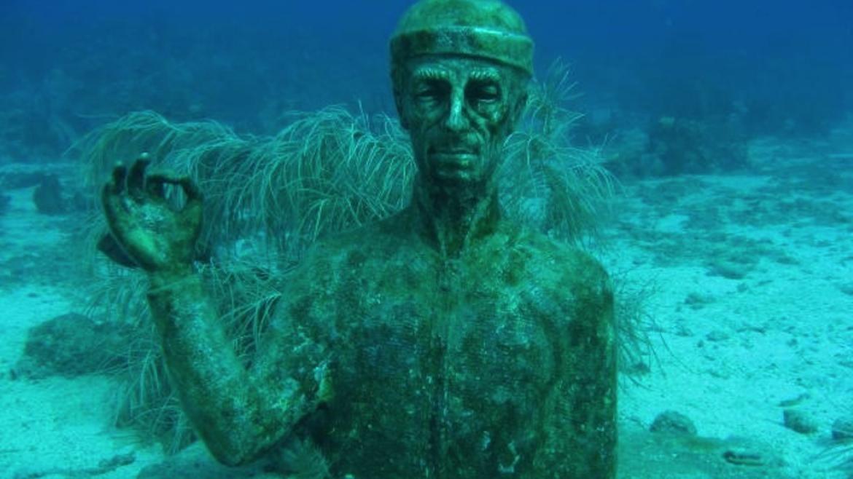Buste cousteau dans la réserve marine en Guadeloupe