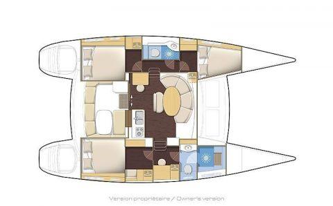 Plan du lagoon 380, version 3 cabines
