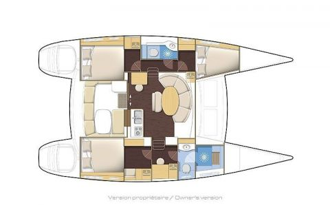 Plan du lagoon 380, version 3 cabines