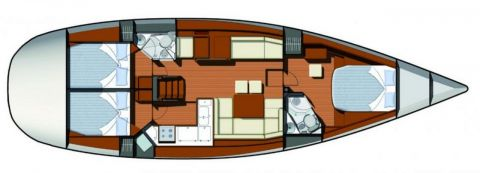 Sun Odyssey 50DS boat layout