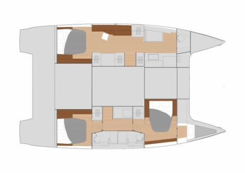 Plan d'aménagement version propriétaire (trois cabines) du Saona