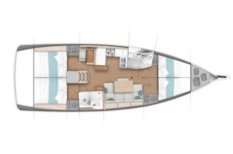 Plan d'aménagement version 4 cabines du Sun Odyssey 440