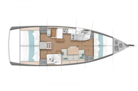 Plan du sun odyssey 440, 4 cabines